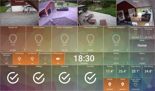 Single Panel image with orange-blue geometric background, transparent Tiles, and camera Media Tiles